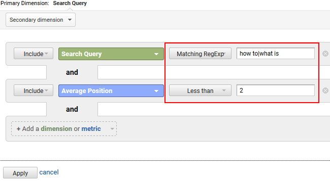 Filtering for featured snippets in GA.