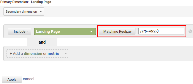 Filtering landing pages using regex in GA.