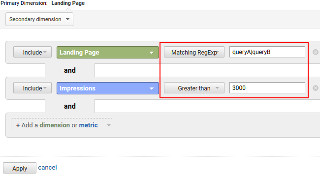 Filtering landing pages by query and impressions.