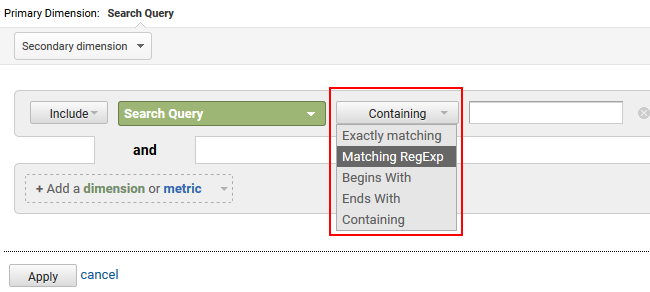 How to filter Google Search Console (GSC) data using regular