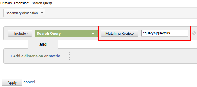 Using regex to filter queries that start with or end with keywords.