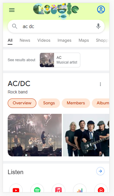 Dynamic organization in the Google search results for AC/DC.