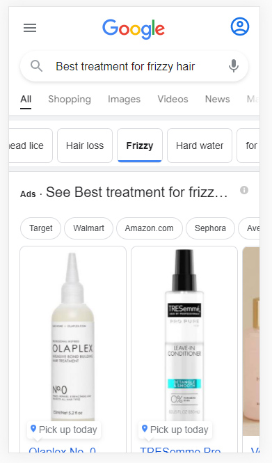 Filter in the Google mobile search results