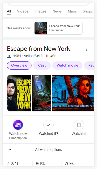 Dynamic organization in the Google search results for Escape from New York.