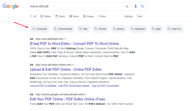 filters in the Google desktop search results