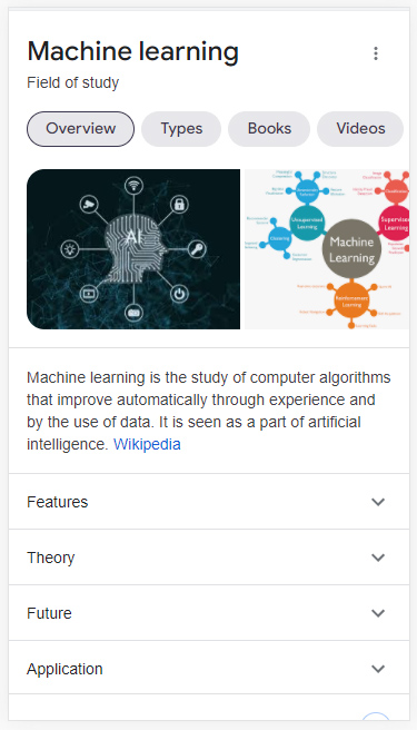 Dynamic organization in the Google search results for machine learning.