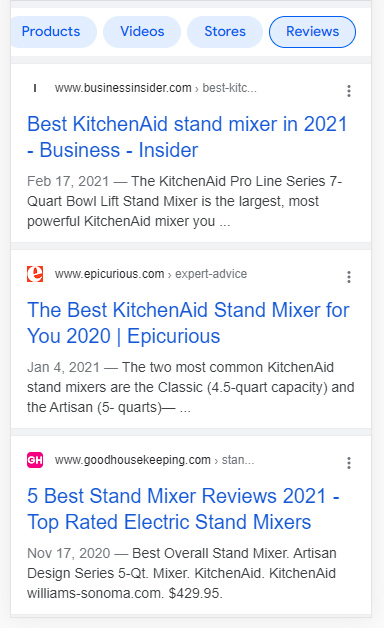 Review tab in the Google search results on mobile.