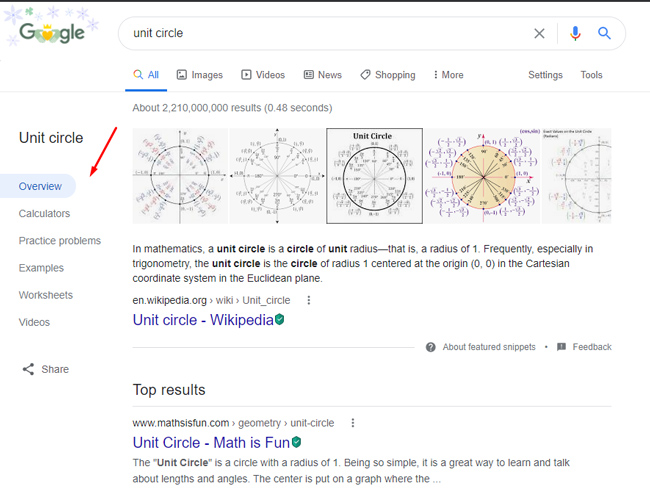Dynamic organization in the Google search results for unit circle.