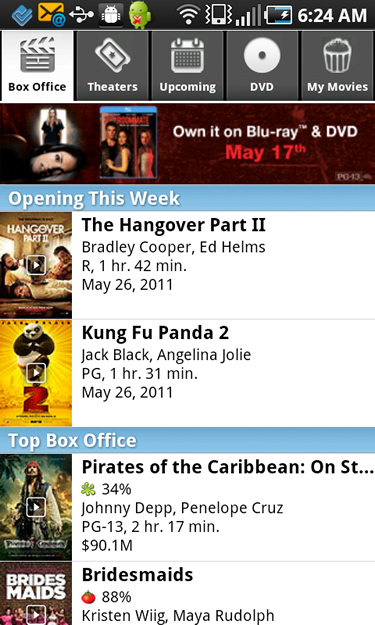 The Box Office Screen of Flixster's Mobile App