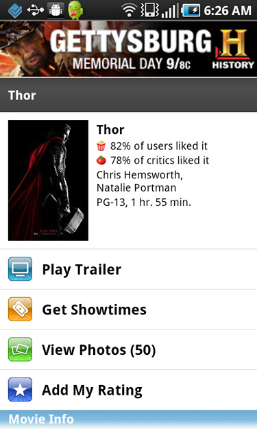 Movie Information Screen in the Flixster Mobile App