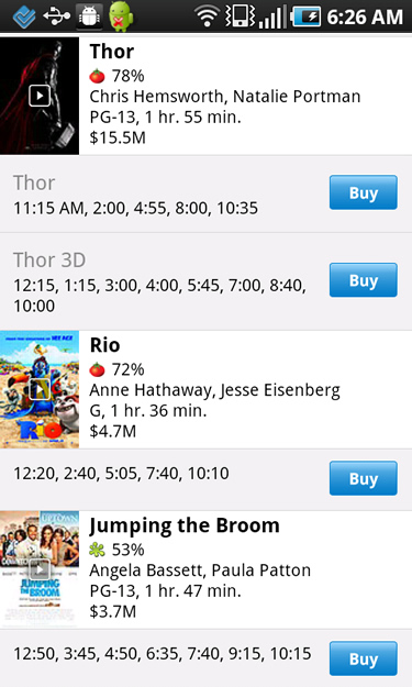 Viewing Movie Times in Flixster