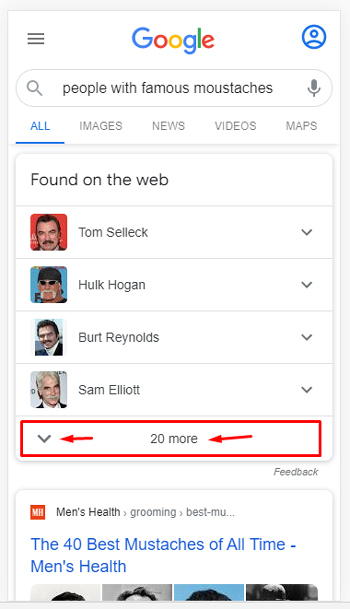 Google's Found on the web SERP feature vertical expansion.