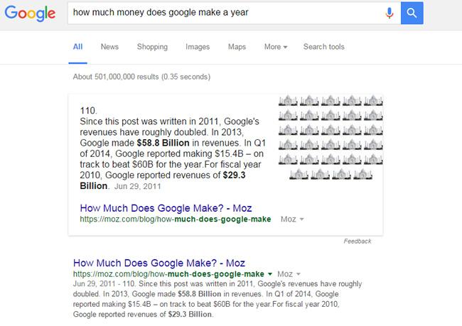 Featured Snippet for How Much Money Does Google Make A Year