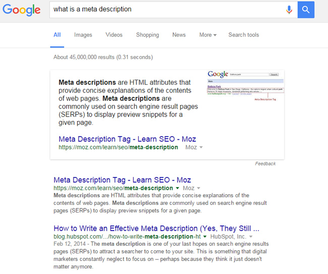 Featured Snippet for What Is A Meta Description
