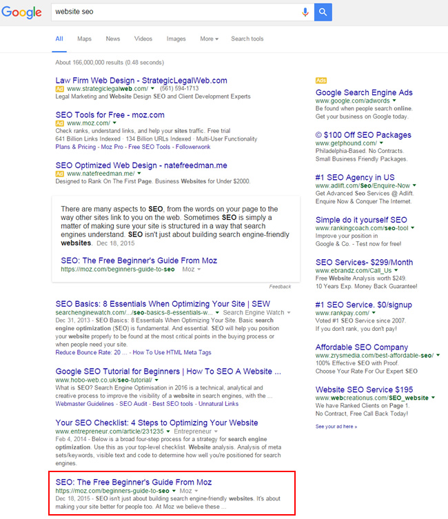 Featured Snippet for Website SEO