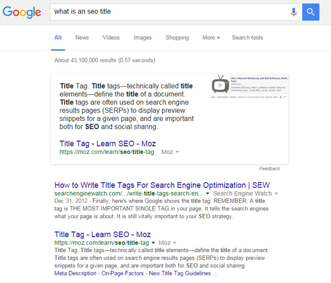 Featured Snippet Changed to Moz for What Is An SEO Title?