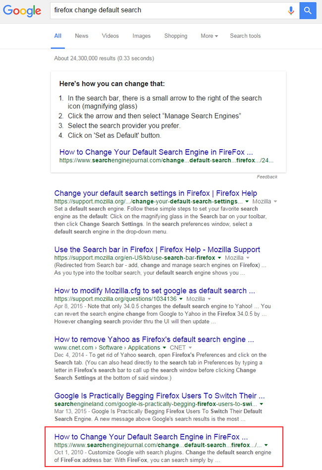 Featured Snippet for Firefox Change Default Search