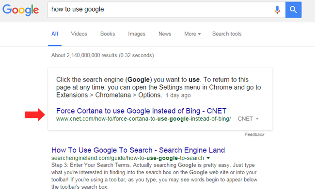 Featured Snippet From CNET - How To Use Google