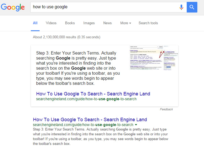 Featured Snippet - How To Use Google
