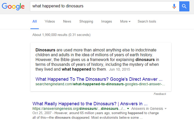 Featured Snippet - What Happened To Dinosaurs