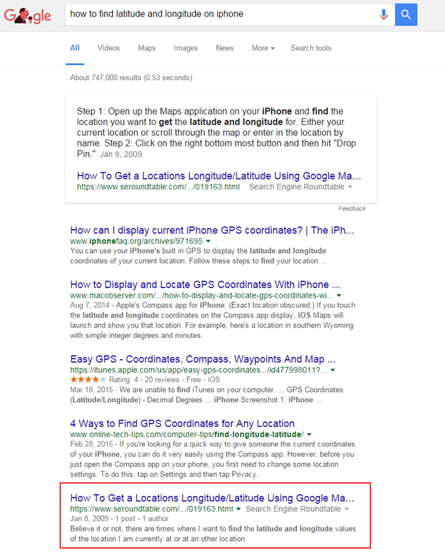 Featured Snippet for How To Find Latitude and Longitude on iPhone