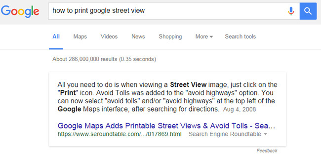 Featured Snippet for How To Print Google Street View