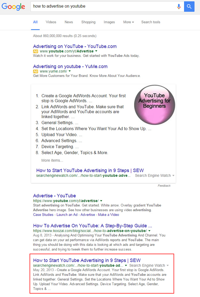 Featured Snippet for How To Advertise On YouTube
