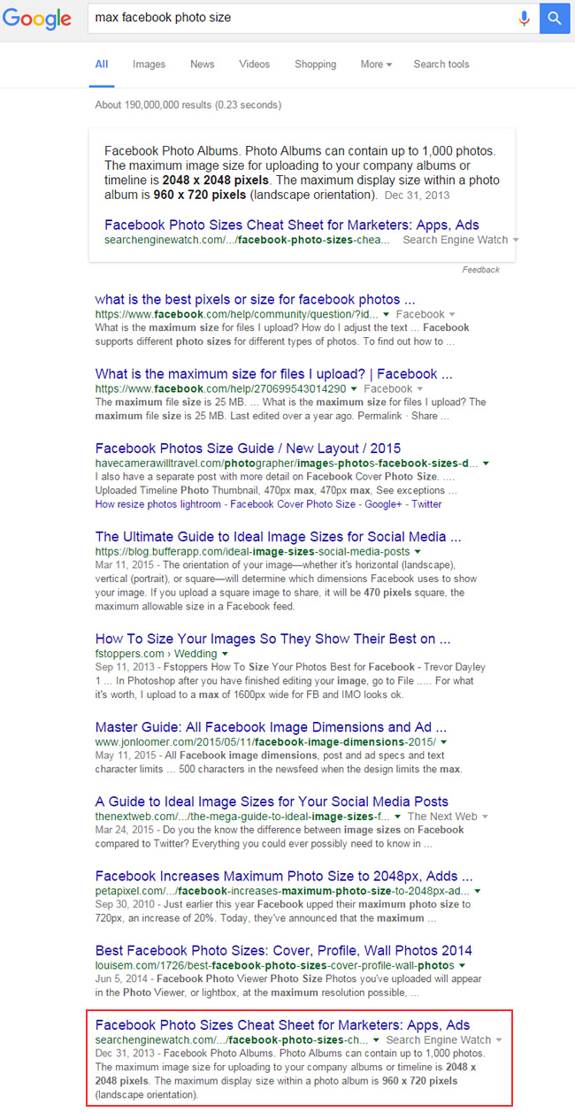 Featured Snippet for Max Facebook Photo Size