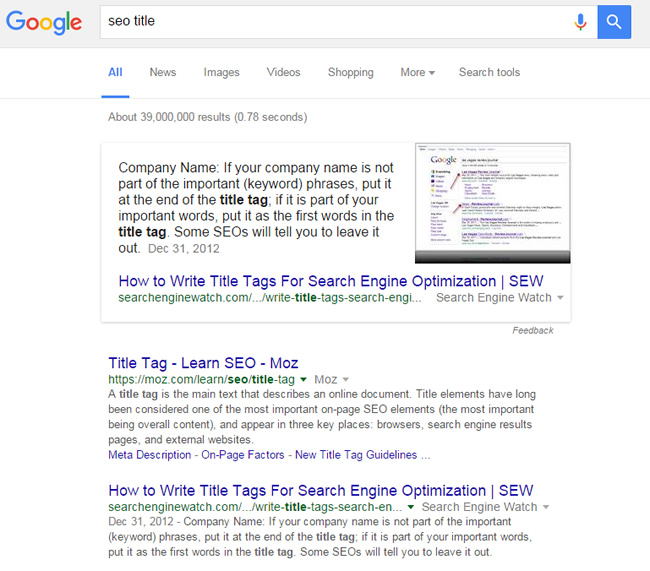 Featured Snippet for SEO Title