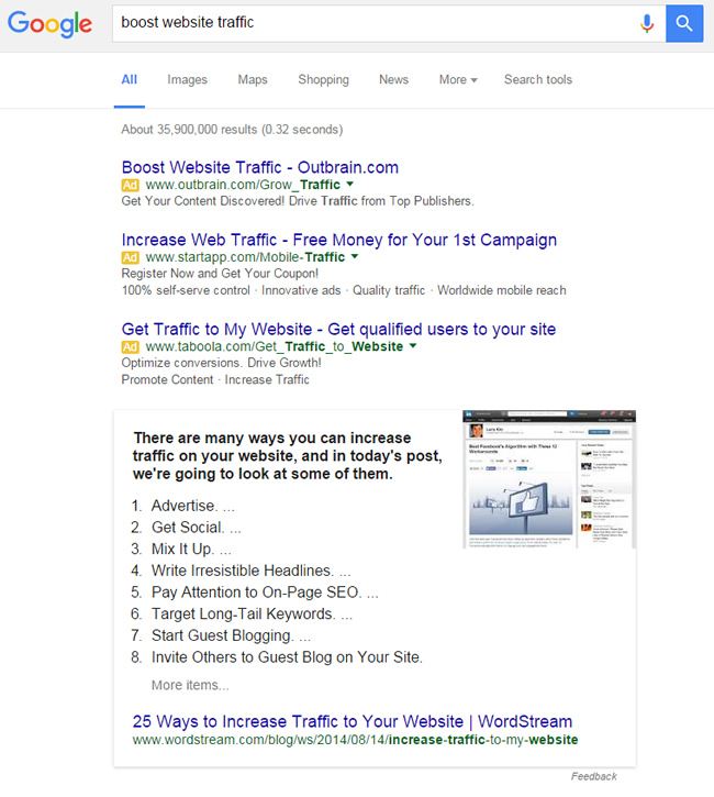 Featured Snippet for Boost Website Traffic