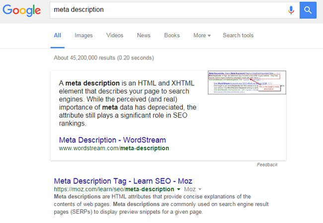 Featured Snippet for Meta Description, Not a Question