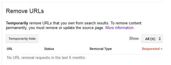 Using the Remove URLs Tool in GSC.