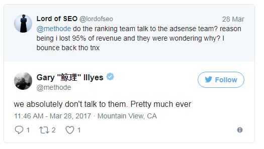 Gary Illyes about the AdSense Team.