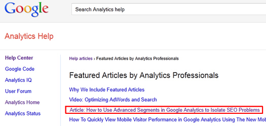 Glenn Gabe's Post About Advanced Segments and SEO Featured in The Google Analytics Help Center