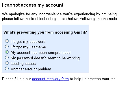 Gmail, my account has been compromised.