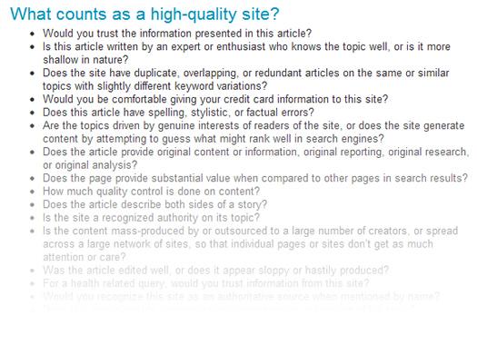 Google's 23 Panda Questions