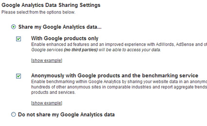 Enabling Data Sharing in Google Analytics for Benchmarking Data