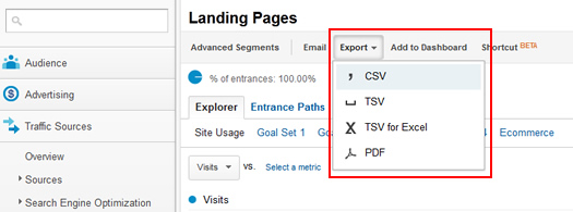 Exporting a report from Google Analytics