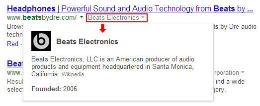 New Google Hover Card in SERPs for Beats Music