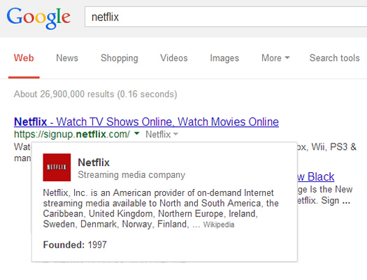 New Google Hover Card in SERPs for Netflix