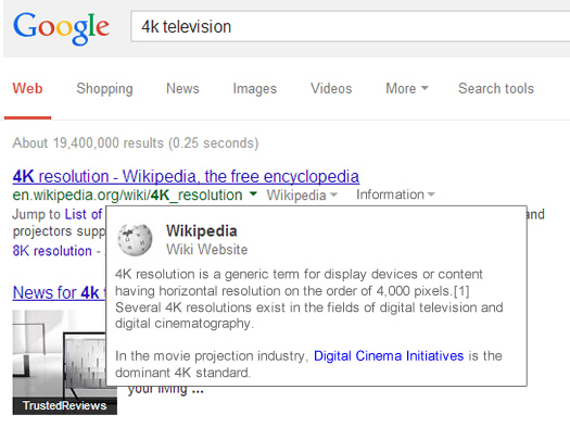 Google Category Card in the Search Results