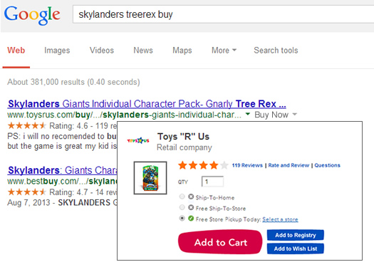 Google Ecommerce Card in the Search Results