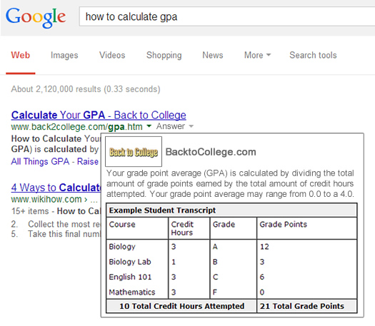 Google Tutorial Card in the Search Results