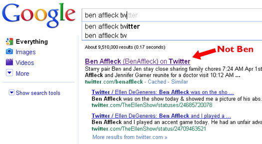 Google Instant and Ben Affleck's Twitter Account
