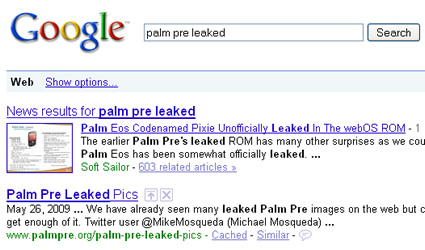 Example of Google News one box in search engine results.
