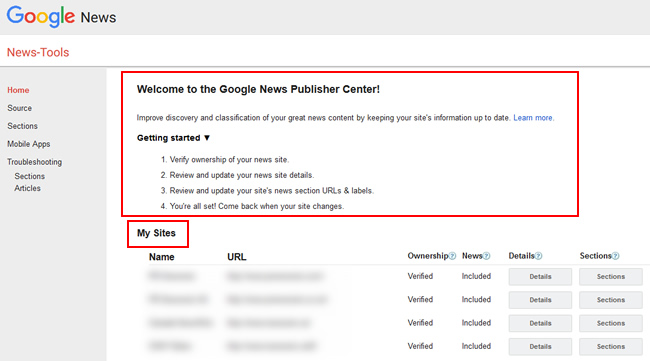 The Google News Publisher Center