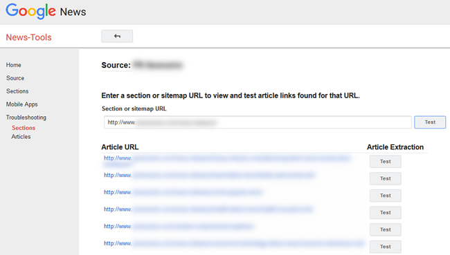 Troubleshooting Sections in Google News