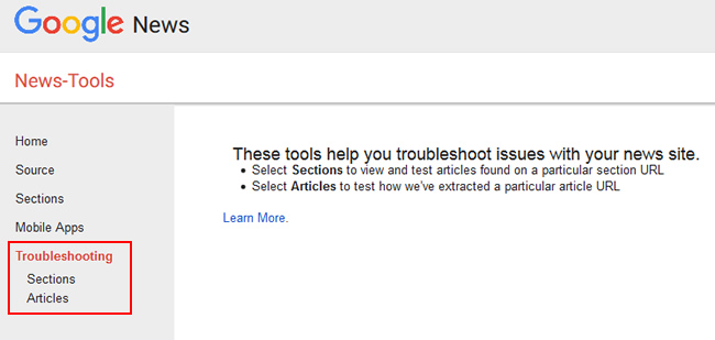 The Troubleshooting Tool in the Google News Publisher Center