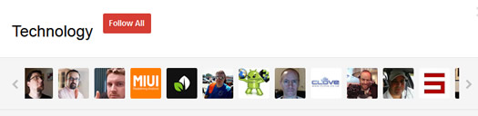 Suggested User List in Google Plus for Technology