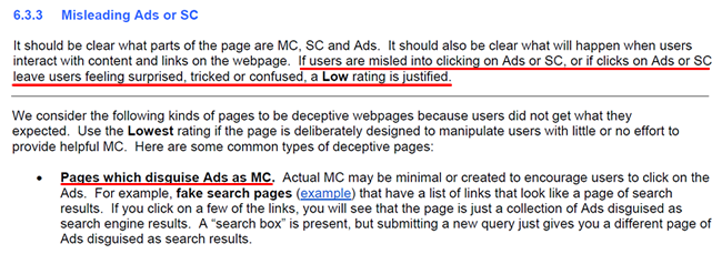 Quality Rater Guidelines about Misleading Ads.